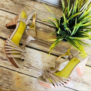 Seychelles Strappy Wood Heeled Sandals Women's 6.5